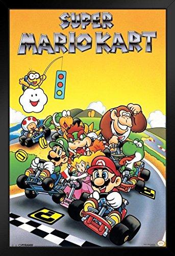 Pyramid America Super Mario Kart Super Nintendo SNES Go Kart Racing Video Game Luigi Princess Peach Framed Poster 14x20 inch