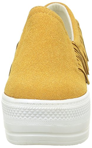 Baskets Mode on Slip Talon Compensé Chaussure Camel Frange Femme Plateforme 5 Cm Angkorly qXEwp5X