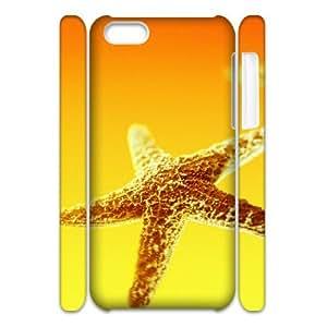 3D IPhone 5C Case, Unique Design by Rock Starfish Light Case for IPhone 5C {White}