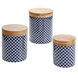 Certified International 3 Piece Chelsea Indigo Quatrefoil Canister Set with Bamboo Lids, Multicolor