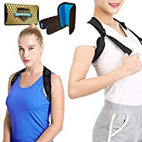 "Back Posture Corrector for Women & Men + Double Detachable Pads - Effective and Comfortable Posture Brace for Slouching & Hunching - Discreet Design - Clavicle Support Brace for Slouching (28""-50"")"