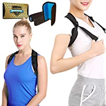 "RFZA Back Posture Corrector for Women & Men + Double Detachable Pads - Effective and Comfortable Posture Brace for Slouching & Hunching - Discreet Design - Clavicle Support Brace (28""-50"")"