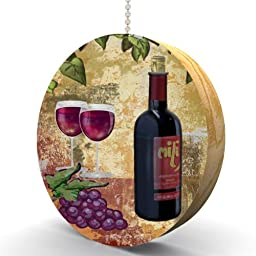Red Wine and Grapes Hardwood Oak Fan / Light Pull