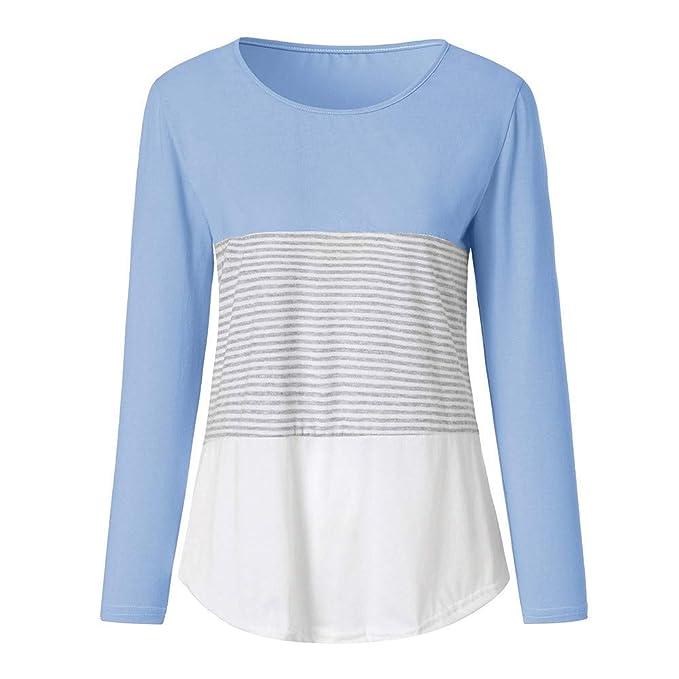 Luckycat Camiseta de Mujer Camisas O-Cuello Manga de Larga Camisa Patchwork Blusas Suelto Tops Casual Pullover Mujer Sweatshirt: Amazon.es: Ropa y ...
