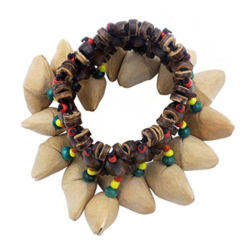 SODIAL Nueces hechas a mano Pulsera de concha Campana de Mano para Djembe Accesorios de percusion African Conum Drum