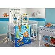 ON 3 Piece Blue Orange Green Finding Nemo Crib Bedding Set, Newborn Disney Themed Nursery Bed Set Infant Child Cute Animals Nautical Ocean Water Fish Pixar Reef Blanket Comforter, Cotton Polyester