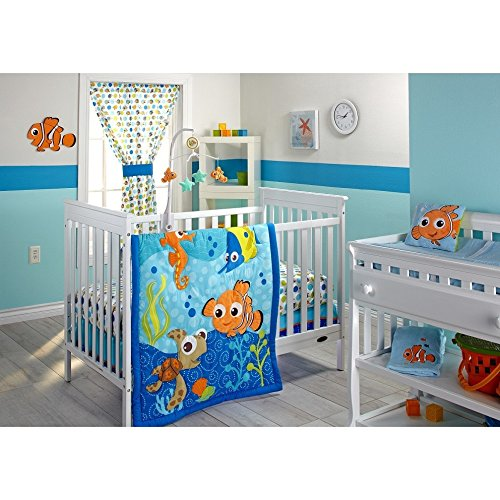 ON 3 Piece Blue Orange Green Finding Nemo Crib Bedding Set, Newborn Disney Themed Nursery Bed Set Infant Child Cute Animals Nautical Ocean Water Fish Pixar Reef Blanket Comforter, Cotton Polyester by ON