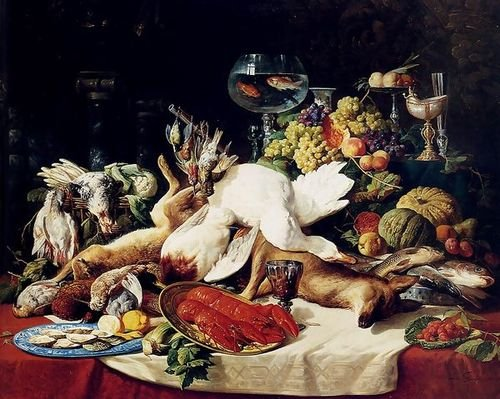 Lucas Schaefels A Still Life With Fruit, Fish, Game And A Goldfish Bowl 78.27... by 1st Art Gallery