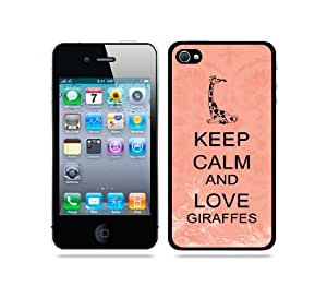 iphone covers Keep Calm And Love Giraffes Coral Floral - Protective Designer BLACK Case - Fits Apple Iphone 5c / 4G