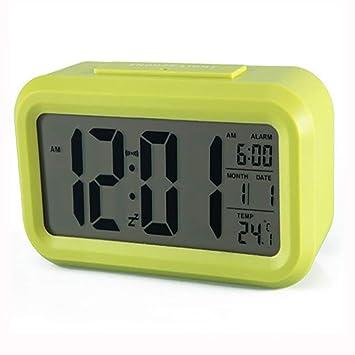 WALIZIWEI Despertador Pantalla LCD Visualización De La Temperatura Silencioso Número Luminoso Despertador Inteligente Reloj Despertador Electrónico,Green: ...