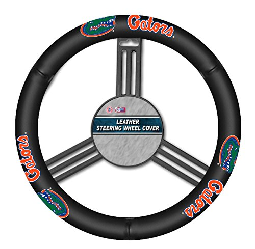 Fremont Die NCAA Florida Gators Leather Steering Wheel Cover, One Size, Black