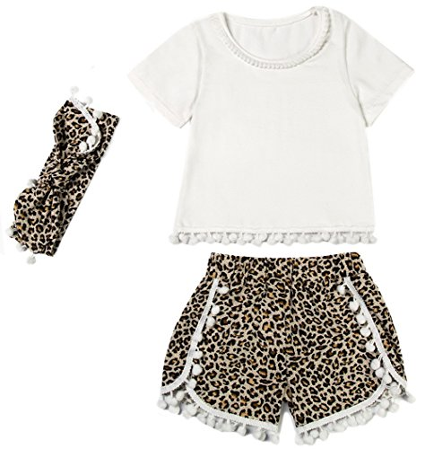 Messy Code Girls outfit White T - shirt Leopard Print Shorts Toddlers Gold Dot Pompom Clothing set 3 T, Brown LEO, Large / 2 - (Leopard Dot)