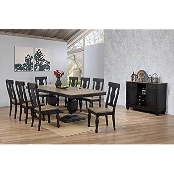 Amazon.com - Kings Brand Alleyton 10 Piece Charcoal Oak Wood Dining ...