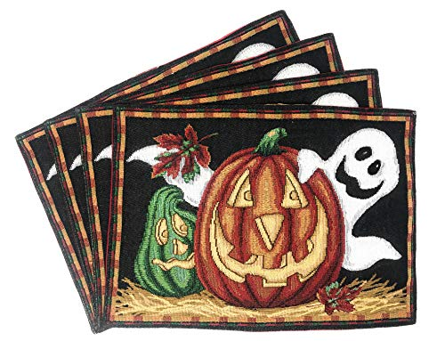 "(DaDa Bedding Halloween Pumpkin Placemats - Set of 4 Tapestry Jack-o'-Lantern Ghosts - Cotton Linen Woven Dining Table Mats - 13"" x 19"")"