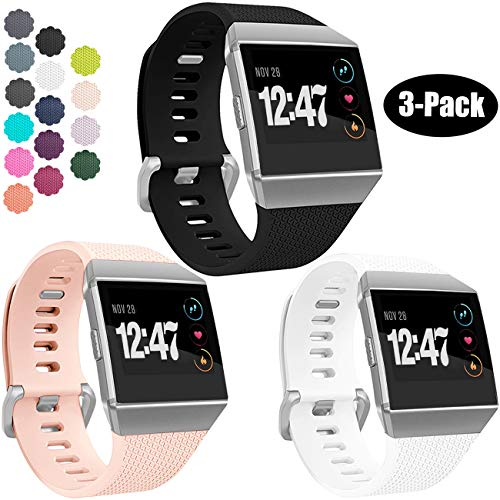 Wepro Bands Compatible with Fitbit Ionic SmartWatch, Watch Replacement Sport Strap for Women Men Kids, Small, Black, White, Blush Pink