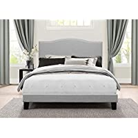 Low Profile Platform Bed in One in Glacier Gray Fabric (Queen: 87.5 in. L x 64.38 in. W x 49.25 in. H)