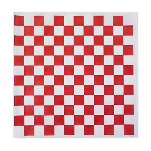 Red Check Dry Wax Paper Deli Wrap and Basket Liner | 100ct