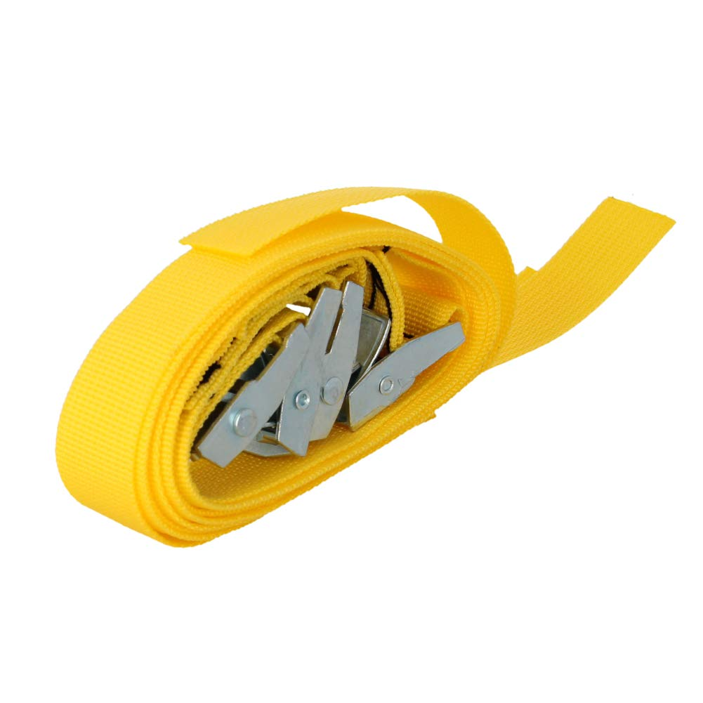 MroMax 6M x 25mm Lashing Strap Cargo Tie Down Straps with Cam Lock Buckle 150Kg Work Load Yellow 4pcs