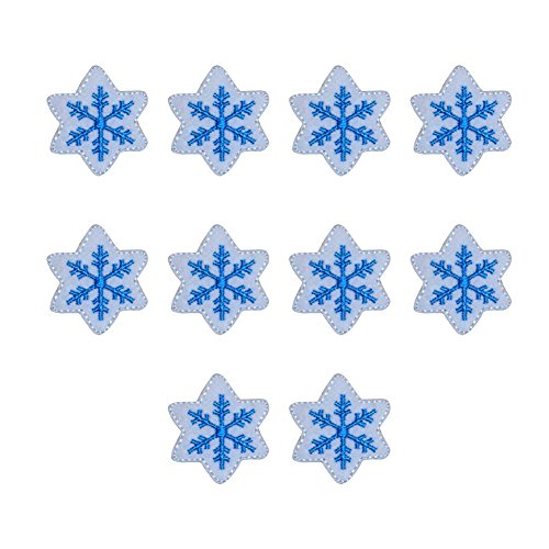 (XUNHUI 10 Pcs Blue Snow Snowflake Patches for Clothes Embroidery Applique Iron on Patch for Clothing DIY Badge)