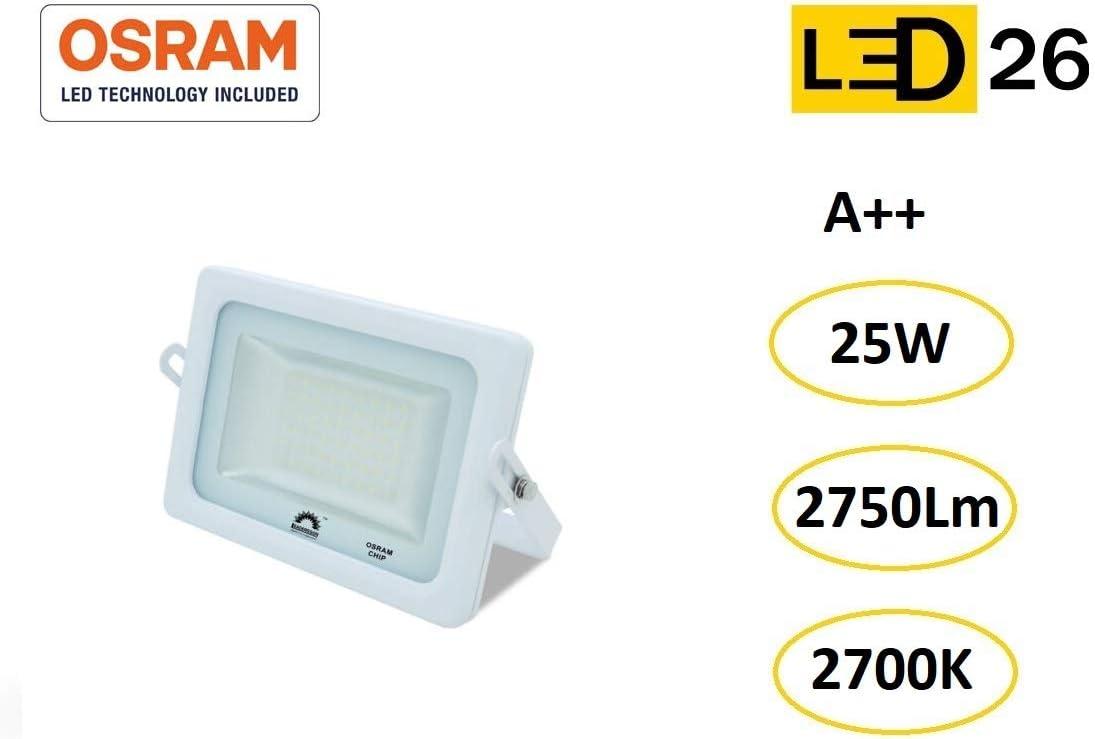 LED26® Exterior Floodlight Led Foco 15w chip LED OSRAM Proyector Led para Exterior Iluminación Decoración 4000k IP65 Blanco [Clase de eficiencia energética A++]: Amazon.es: Iluminación