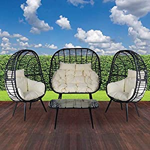 Marley 4 Piece Outdoor Rattan Egg Basket Chairs Set
