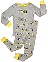 Kids & Toddler Pajamas Garbage Truck Train Boys 2 Piece Pjs Set 100% Cotton (