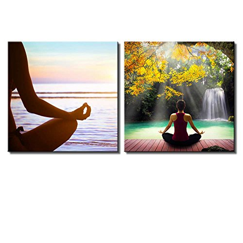 Two Piece Woman Meditating by a Lake with a Waterfall Surrounded by Trees on 2 Panels