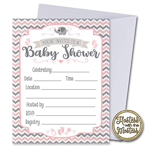 Oh Boy Love It Pink Elephant Baby Shower Invitations with Envelopes 25 Pack | Pink and Grey | Fill in Style | Baby Girl