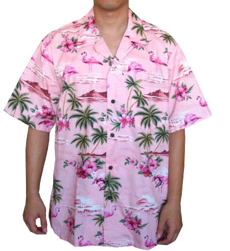 Top Quality Flamingo Island Hawaiian Aloha Shirt , M, PINK