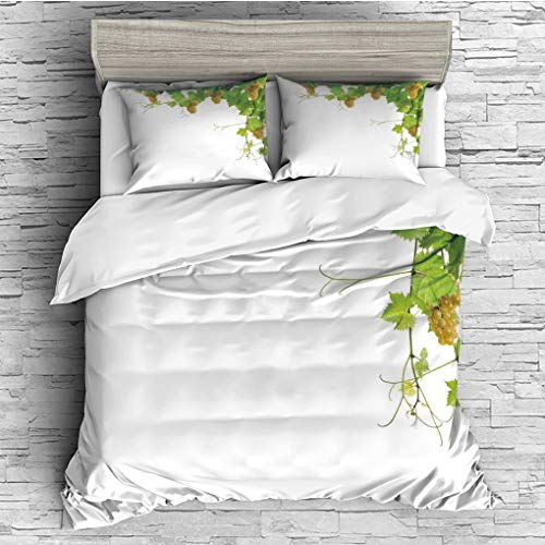 3 Pieces (1 Duvet Cover 2 Pillow Shams)/All Seasons/Home Comforter Bedding Sets Duvet Cover Sets for Adult Kids/Singe/Grapes Home Decor,Collage of Wine Leaves on Bunch Farming Natural Rural Food Berry ()