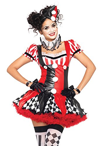 Leg Avenue Women's 3 Piece Harlequin Clown Costume, Black/Red, -