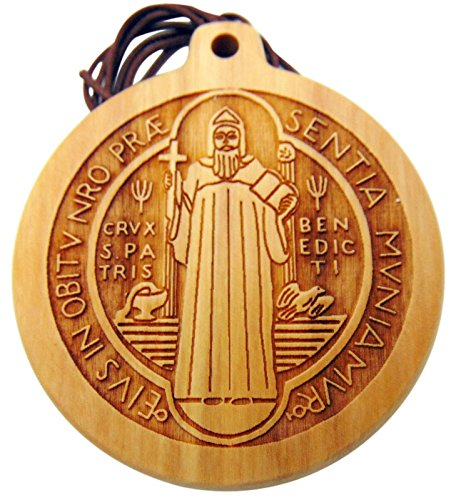 Large St Benedict 3 Inch Medallion Medal Olive Wood Handmade in Italy on a Leather Cord