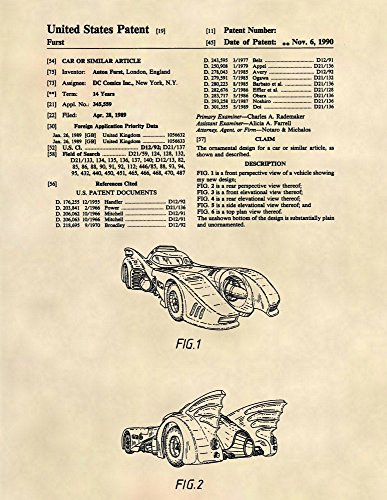 Patent Prints - 1989 Batmobile - Batman Patent Art Poster (8.5 x 11