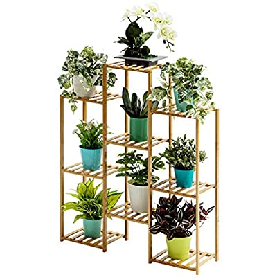 Multifunctional Wood Shelf - Plant Stand - 9-Tier Storage Rack, Brown, 48.8x48.8x10.2inch-Ship from US!