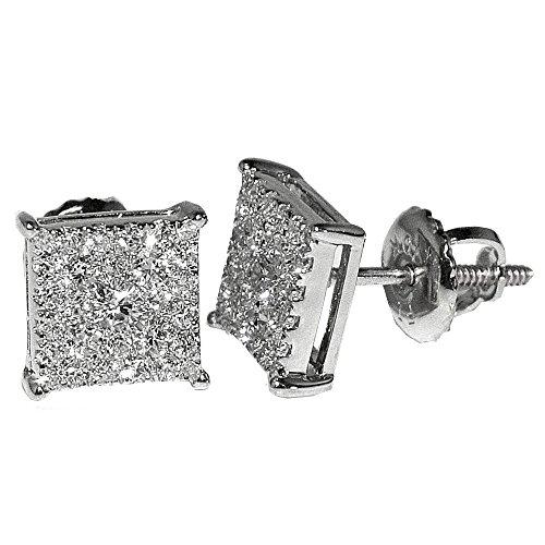 Earrings Diamond Big (1/2cttw Diamond Earrings Square 7.5mm Wide Screw Back 10K White Gold Square Shaped)