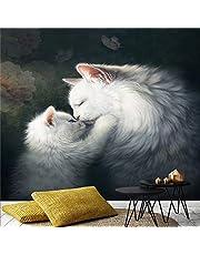 MUMUWUSG Väggmålning Fototapet Affisch Väggdekoration Hd Print Cartoon handritad söt vit djur katt Bakgrund Vägg Bakgrund Målning Panorama 3D Väggmålning Bakgrund