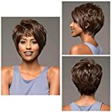 BeiSD Short Wavy Brown Wig Wavy Synthetic Short Haircuts Short Wigs For Black Women Brown Short Hairstyles