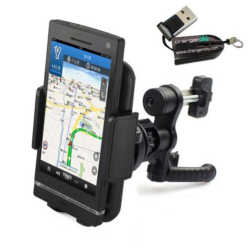 ChargerCity 360º Rotation Simple Lock Car / Vehicle Air Vent Mount with Mega Smartphone Holder for Apple iPhone 6 5 5S 5C, Samsung Galaxy S5 S4 S3, LG Nexus 4 5 G2, HTC One, Motorola Moto X G Droid and Nokia Lumia 1020 *Include Free ChargerCity MicroSD Card Reader & Manufacture Direct Replacement Warranty****