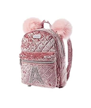 Justice Girls Mini Initial Backpack Velvet Quilted Pink Pom-Pom (K)
