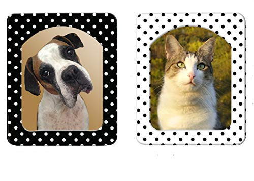 2pk Distinctive Desktop Magnetic Picture Frames - Black and White Polka Dot Pairs, Self-Standing Easel, Size is 3 ⅝ in x 4 ⅜, Holds Trimmed 3x5 or 4x6 Photo, Includes Non-Glare Photo Protector (Frames Whimsical Picture)