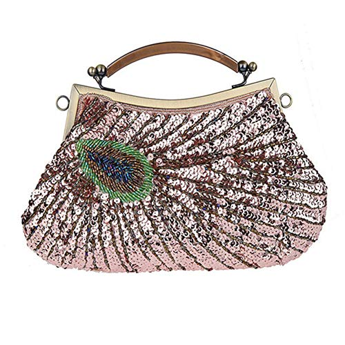 Vintage Women's Clutches Evening Bags With Handle Peacock Pattern Sequins Beaded Bridal Clutch Purse as picture5