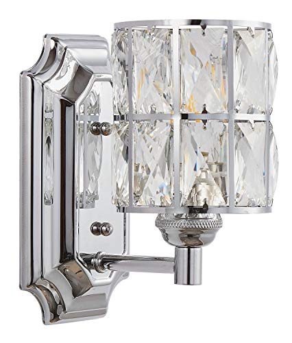 Crystal Wall Light Fixture - Doraimi 1 Light Crystal Plug in Wall Sconce Lighting with Chrome Finish,Modern and Concise Style Wall Light with Crystal Plate Metal Shade for Bathroom Crystal Light fixtures LED Bulb(not Include)