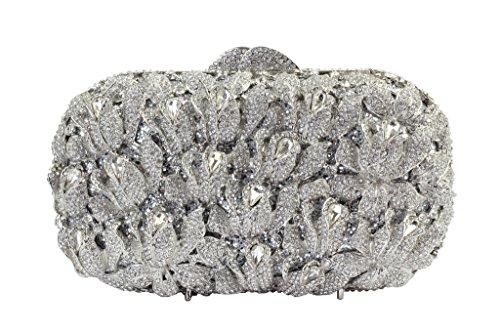 Yilongsheng Schillernde Abendtaschen mit glänzenden Kristall rhinestones für Damen (Silber)