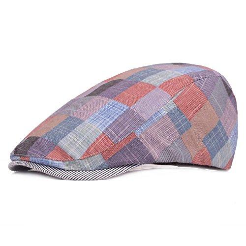 Checker Cap Hat - Quanhaigou Unisex Newsboy Hat Cotton Flat Checker Plaid Ivy Irish Cabbie Hunting Cap