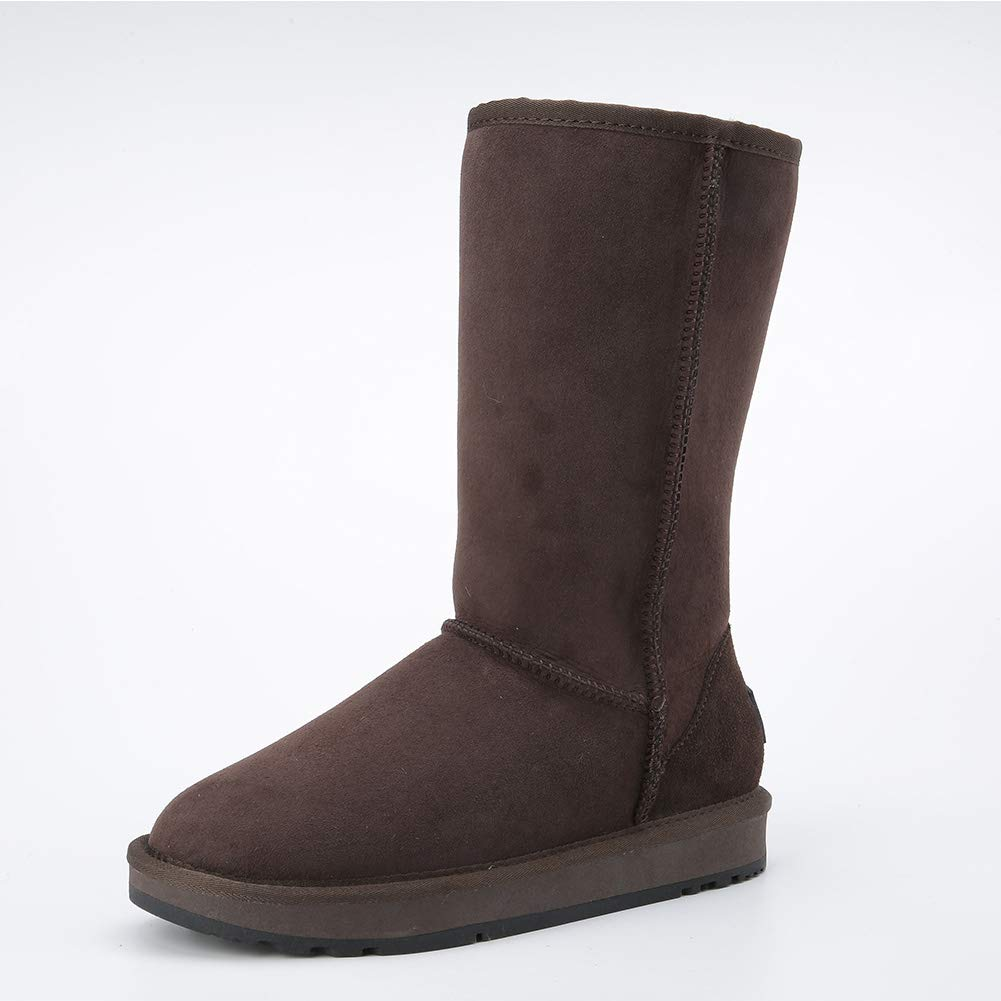 Chocolate INOE CREATE GLAMOUR Women Snow Boots Classic Sheepskin Suede Real Sheep Fur Lined Winter Snow Boots for Women