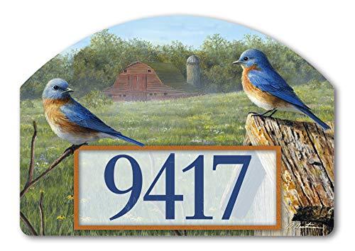 Yard DeSigns Studio M Summer Bluebirds Spring Summer Decorative Address Marker Yard Sign Magnet, Made in USA, Superior Weather Durability, 14 x 10 Inches