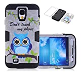 S4 Case, Galaxy S4 Case, CexCob Funny Quotes Saying Cute Owl [Shockproof] 3 in 1 Hybrid Silicone TPU & Plastic Rugged [Heavy Duty Combo] High Impact Back Cover Case for Samsung Galaxy S4, Black
