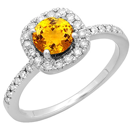 Dazzlingrock Collection 14K 6 MM Round Citrine and White Diamond Bridal Engagement Ring, White Gold, Size 4.5