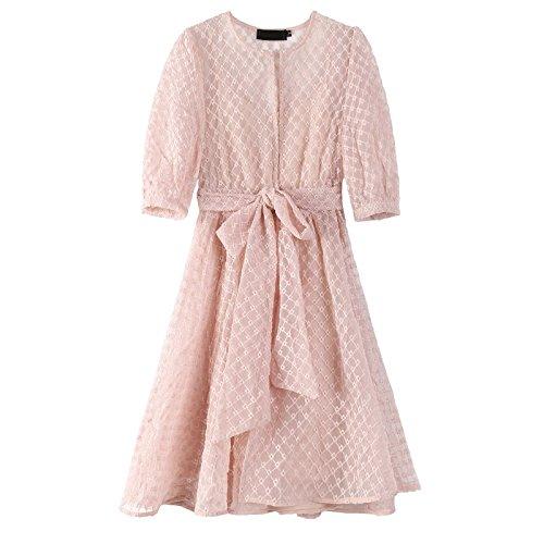 MiGMV d't Jupe la Robes Dentelle Taille d'une Petite M et Pink a Robe Manches Deux La OOaq5wr