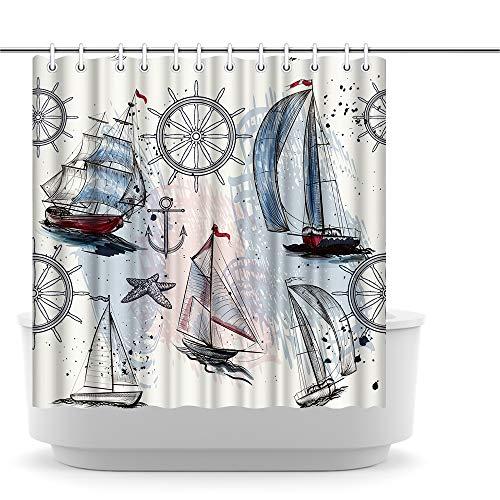 Innopics Nautical Bathroom Decor Sail Boat Picture Shower Curtain European Style Washroom Decoration 72